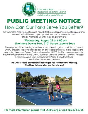 Public Meeting Notice: Livermore Downs Park