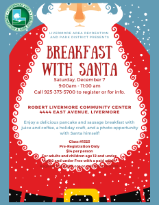 Breakfast with Santa Flyer: Santa with red suit, Light Blue Background