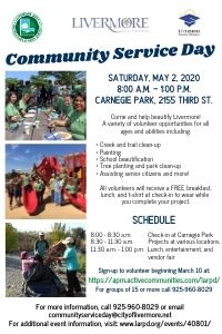 Community Service Day flyer; people painting and planting in the community