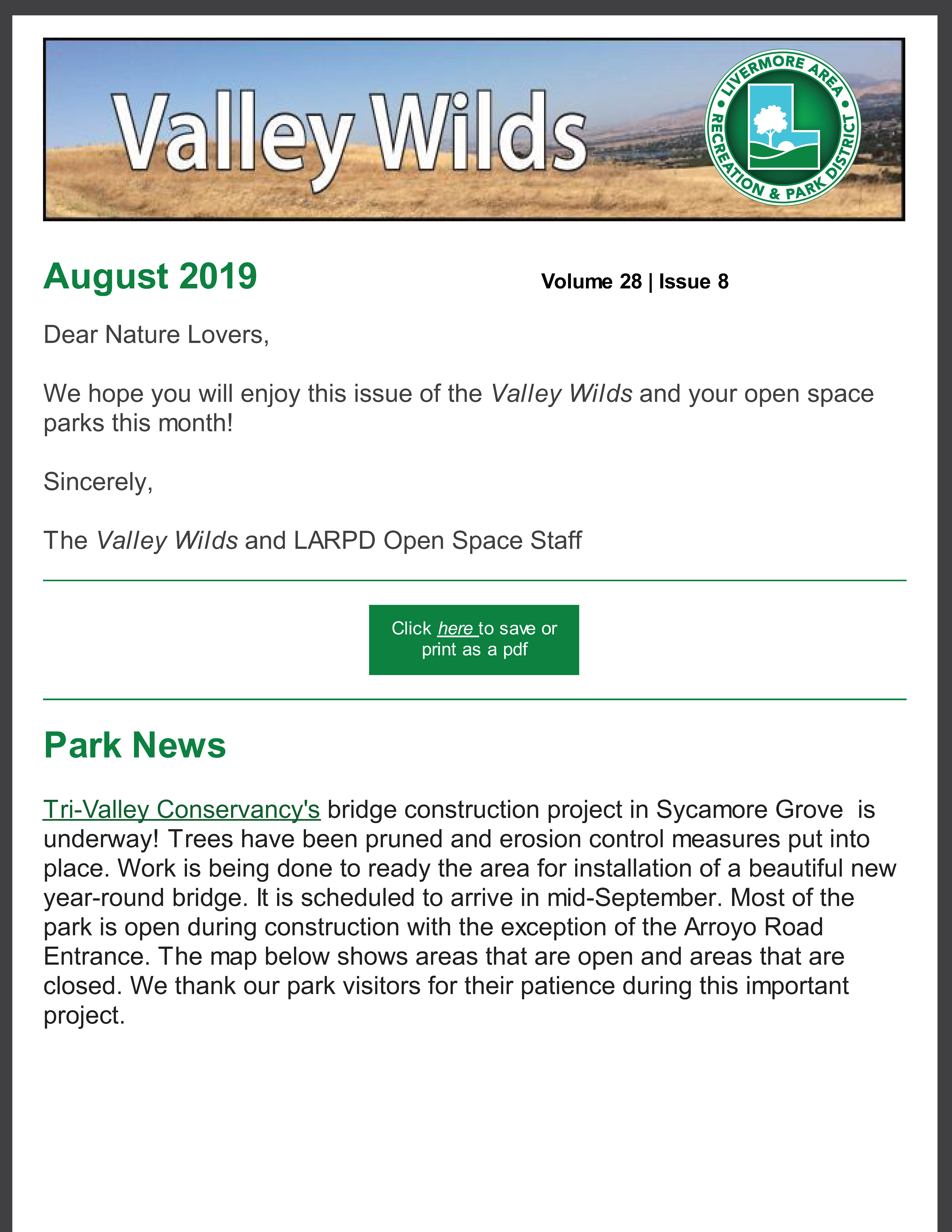 August Newsletter Page 1