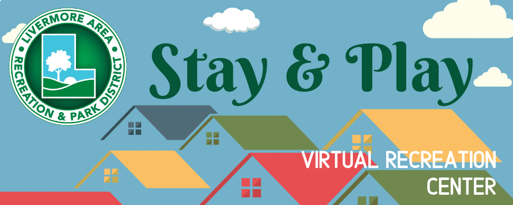 Blue background with houses with Stay n'Play text